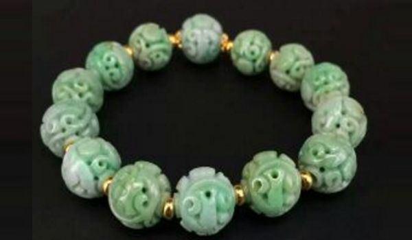 白底青满绿翡翠团寿龙纹珠手串 一串14颗古董珠宝